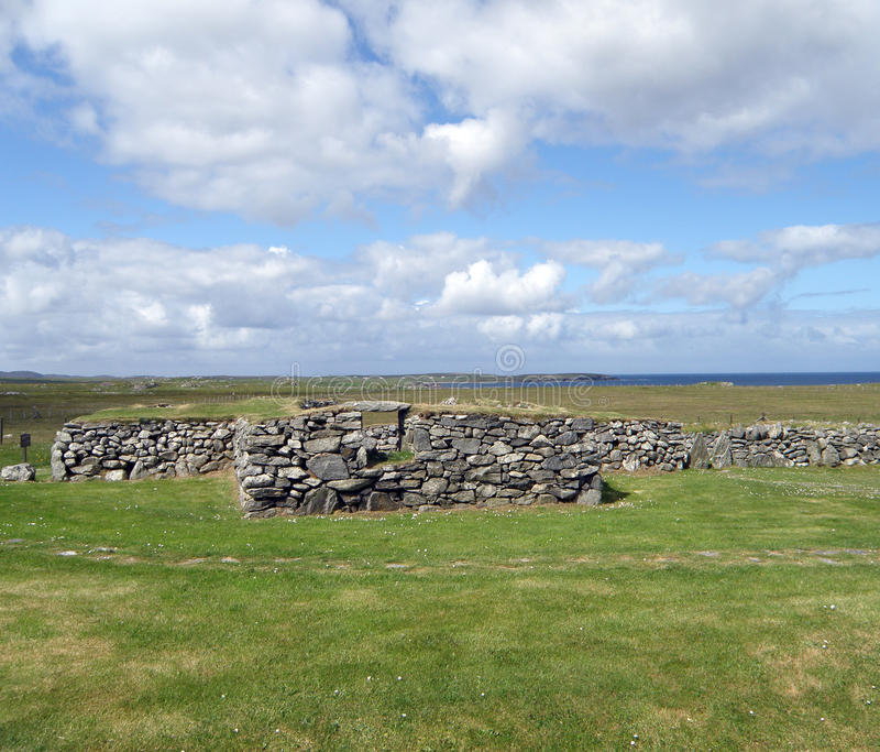 Ruïnes, Blackhouse, Arnol, Eiland van Lewis royalty-vrije stock afbeelding