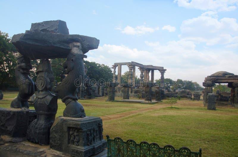 Ruïnes, complexe Tempel, Warangal-fort, Warangal, Telangana-staat van India stock foto's