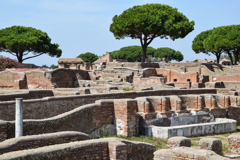 Ruïnes en bomen in Ostia Antica stock foto