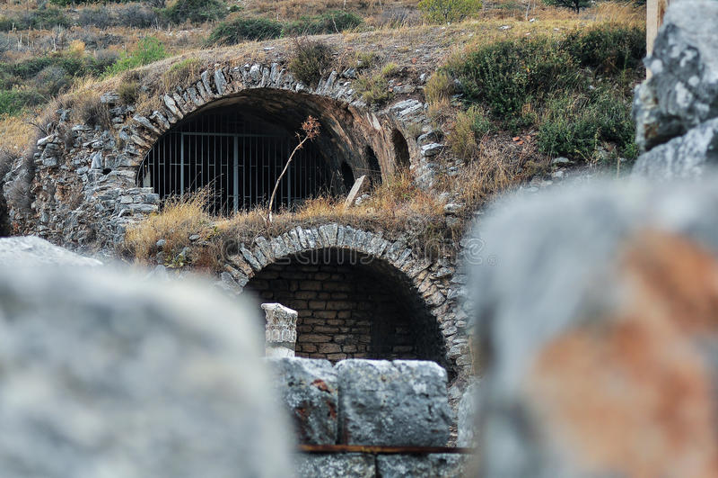 Ruïnes in Ephesus stock foto's