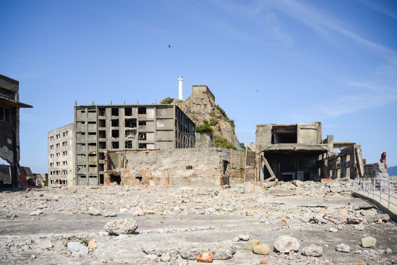 Ruïnes in Gunkanjima-Eiland, Nagasaki royalty-vrije stock fotografie