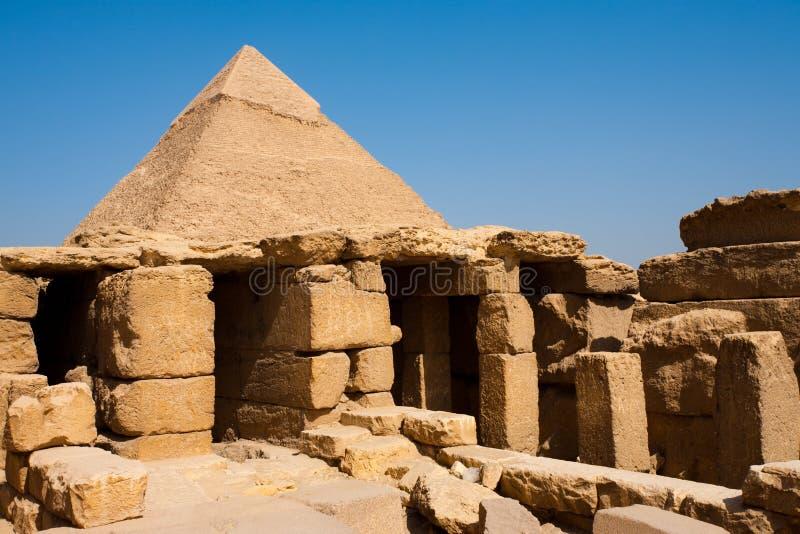 Ruïnes Khafre Giza van de Tempel van de piramide Funerary stock fotografie
