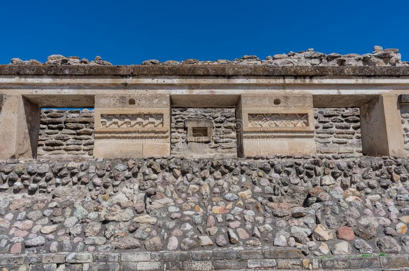 Ruïnes in Mitla dichtbij Oaxaca-stad mexico royalty-vrije stock foto