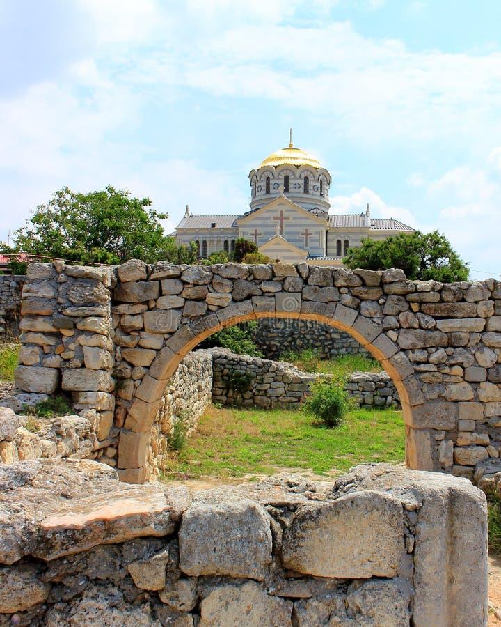 Ruïnes oude Chersonesus stock foto
