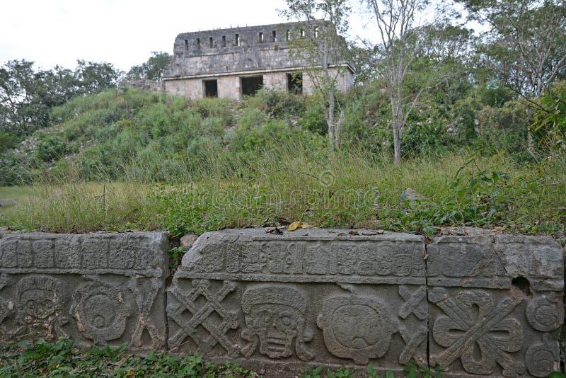 Ruïnes in oude Mayan plaats Uxmal, Mexico stock foto's
