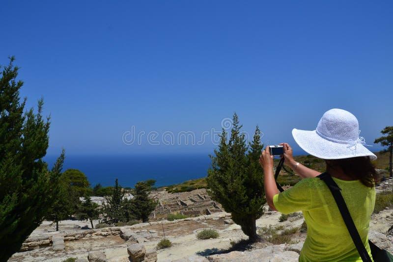 Ruïnes oude stad Kamiros, Rhodes Island, Griekenland, Europa stock foto's