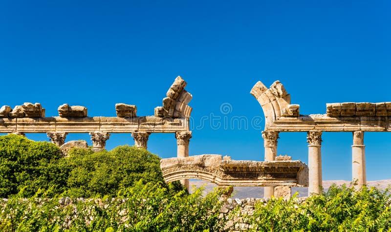 Ruïnes van Bustan al-Khan in Baalbek, Libanon royalty-vrije stock afbeeldingen