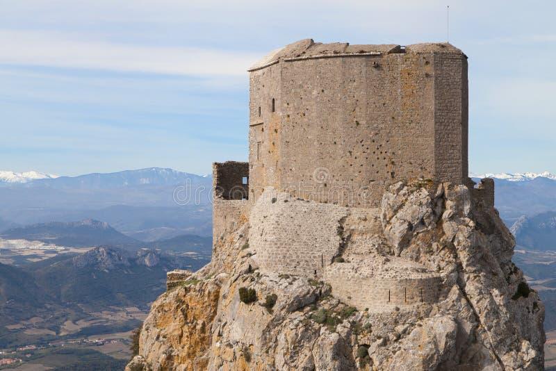 Ruïnes van Chateau Queribus royalty-vrije stock afbeeldingen