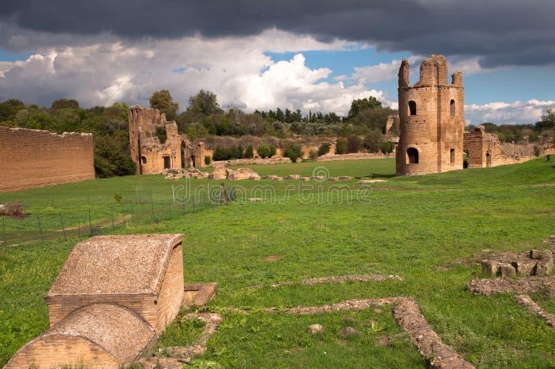 Ruïnes van Circo Di Massenzio in Rome - Italië royalty-vrije stock foto's