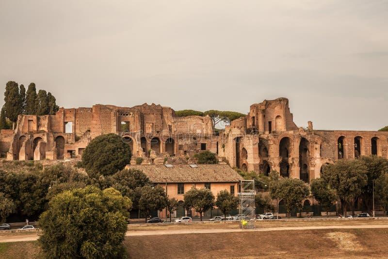 Ruïnes van Circus Maximus in Rome, Italië stock afbeelding