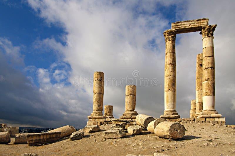 Ruïnes van citadel in Amman in Jordanië. royalty-vrije stock afbeelding