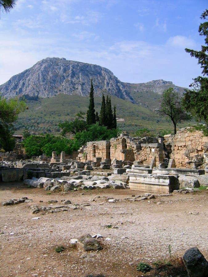 Ruïnes van Corinth stock afbeelding