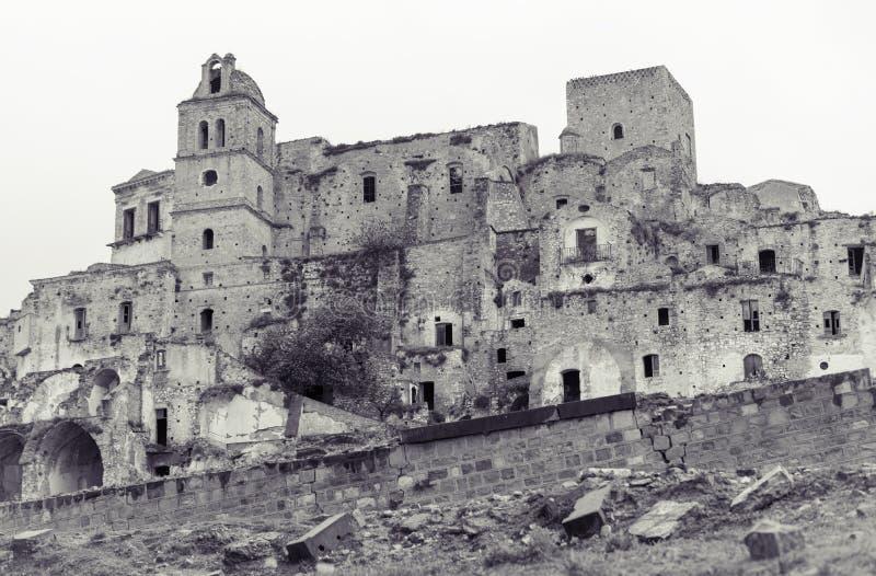 Ruïnes van Craco, het gebied van Basilicata, Italië stock foto's