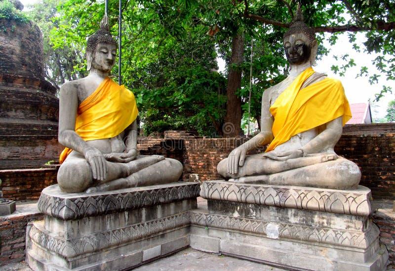 Ruïnes van de Ayutthaya de oude stad in Thailand, de standbeelden van Boedha royalty-vrije stock foto's