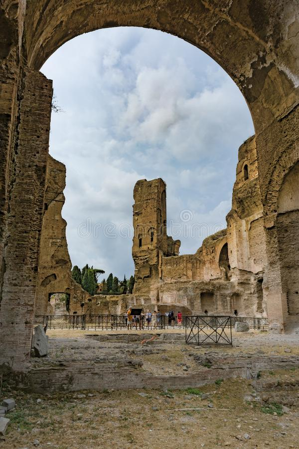 Ruïnes van de Baden van Caracalla - Terme Di Caracalla stock afbeelding