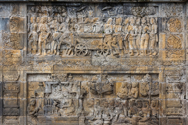 Ruïnes van de Borobudur-complexe tempel, het eiland van Java stock afbeeldingen