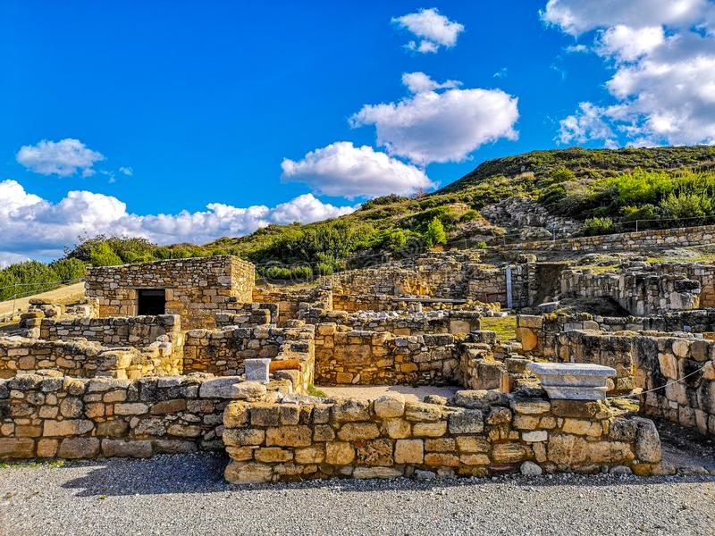 Ruïnes van de Kamiros de oude stad in Rhodos stock foto