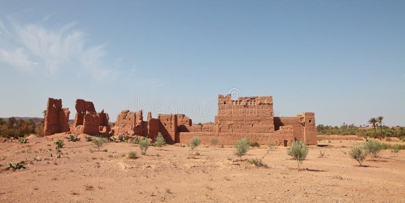 Ruïnes van de kleibouw in Marokko royalty-vrije stock afbeelding