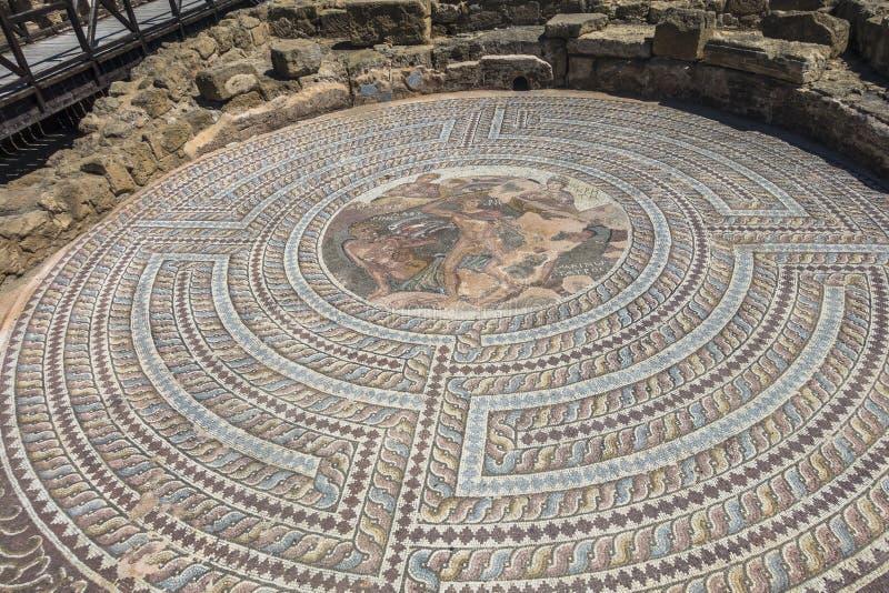 Ruïnes van de oude Griekse en Roman stad van Paphos Beroemd, stock afbeeldingen
