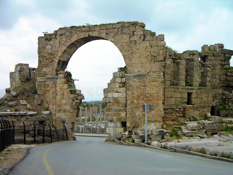 Ruïnes van de oude stad, Kant, Turkije royalty-vrije stock foto
