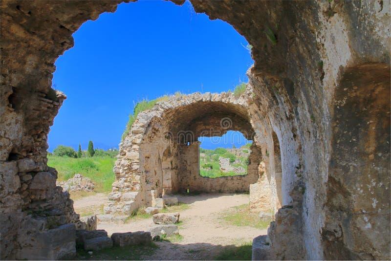 Ruïnes van de oude stad van Kant in Turkije stock afbeelding
