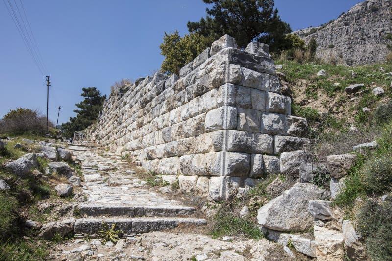 Ruïnes van de oude stad van Priene, Turkije stock fotografie