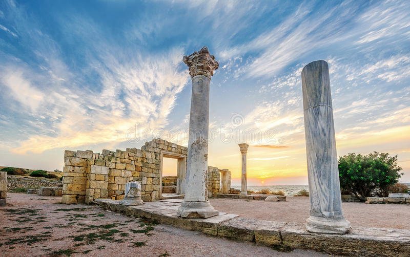 Ruïnes van de oude stad van Hersonissos royalty-vrije stock fotografie