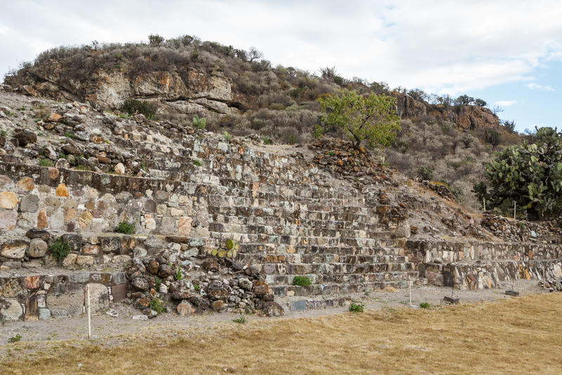 Ruïnes van de pre-Spaanse Zapotec-stad Yagul stock foto's