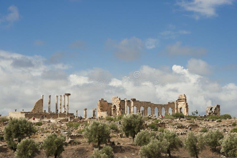 Ruïnes van de roman stad Volubilis in Marocco royalty-vrije stock afbeelding