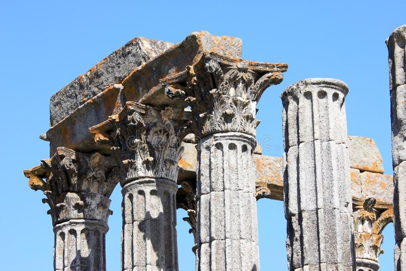 Ruïnes van de Roman Tempel van Evora, Portugal stock foto