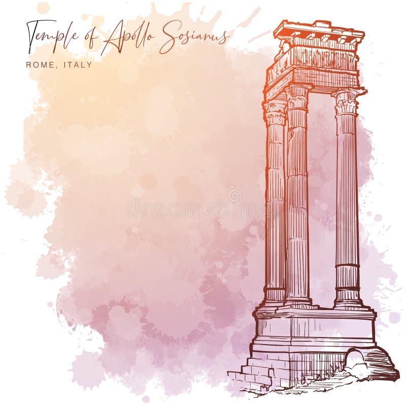 Ruïnes van de Tempel van Apollo Sosianus in Rome, Italië vector illustratie
