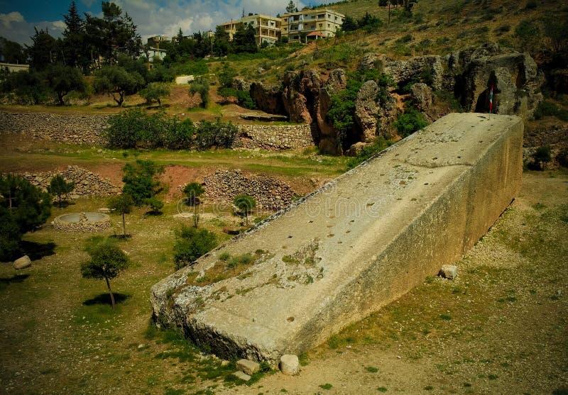 Ruïnes van de tempel van Jupiter en groot hof van Heliopolis in Baalbek, Bekaa-vallei, Libanon stock foto's