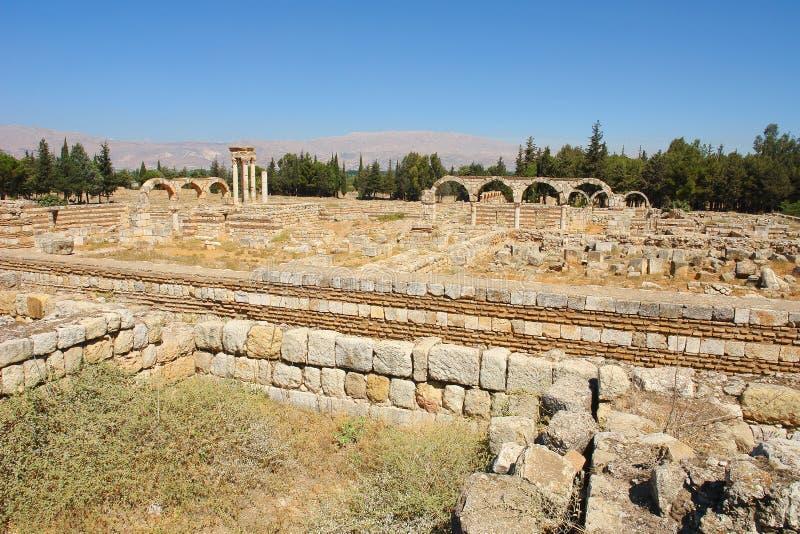 Ruïnes van de Umayyad-stad van Anjar royalty-vrije stock afbeeldingen