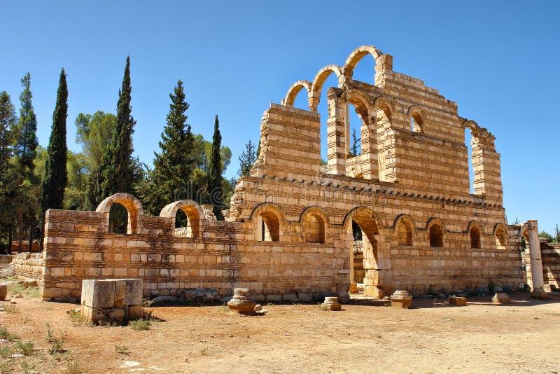 Ruïnes van de Umayyad-stad van Anjar stock afbeeldingen