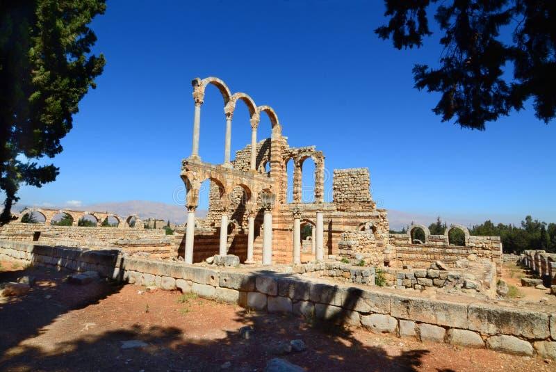 Ruïnes van de Umayyad-stad van Anjar stock foto's