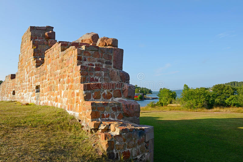 Ruïnes van de vesting Bomarsund (1832-1854) stock fotografie
