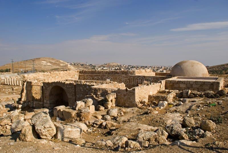 Ruïnes van de vesting van Herod, Groot, Herodium, Palestina stock foto's