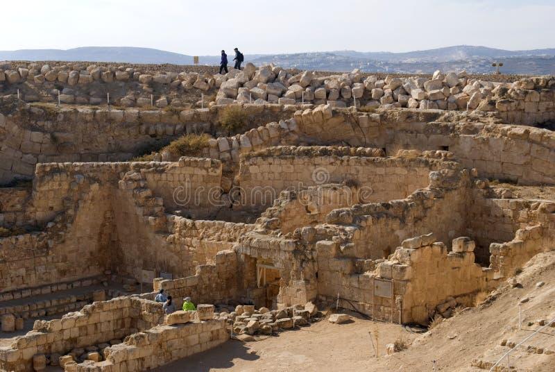 Ruïnes van de vesting van Herod, Groot, Herodium, Palestina royalty-vrije stock afbeelding