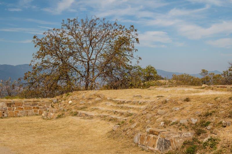 Ruïnes van de zapotec pre-Spaanse stad Monte Alban, Oaxaca royalty-vrije stock afbeeldingen
