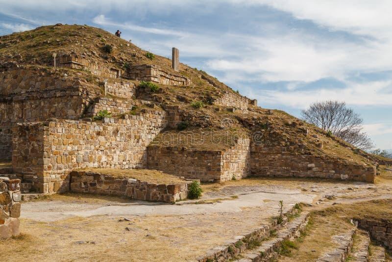 Ruïnes van de zapotec pre-Spaanse stad Monte Alban, Oaxaca stock foto's