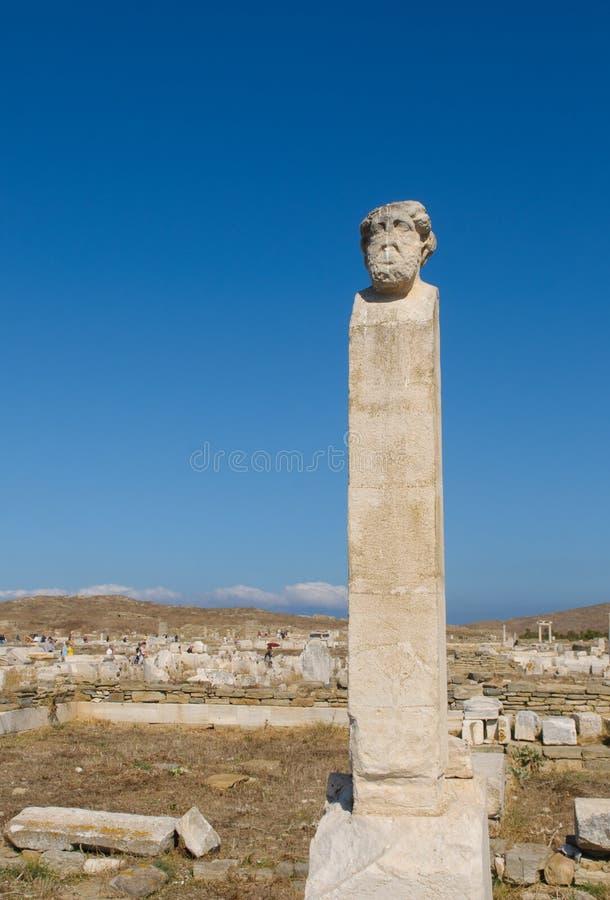 Ruïnes van Delos, Griekenland stock foto's
