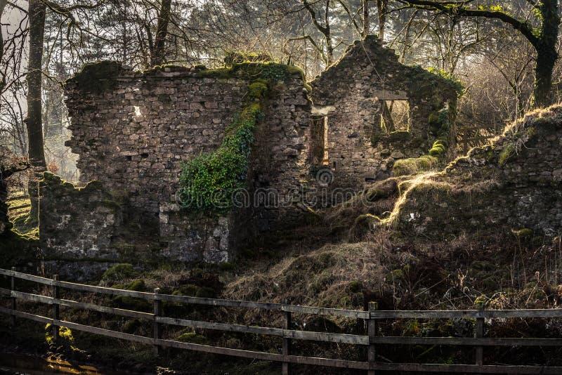 Ruïnes van een huis in Dartmoor royalty-vrije stock afbeeldingen