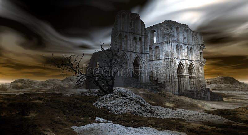 Ruïnes van een oude Kerk stock illustratie