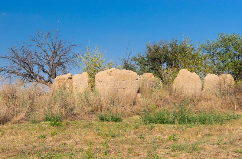 Ruïnes van een oude klei-ommuurde hut stock foto's