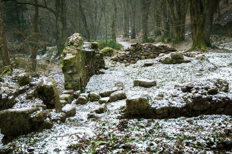 Ruïnes van een oude steen die op Dartmoor voortbouwen stock foto