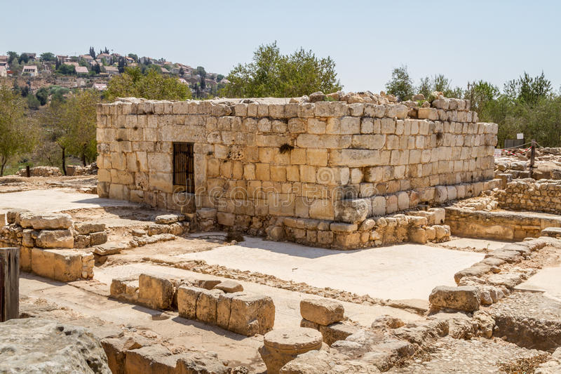 Ruïnes van een oude synagoge in Bijbelse Shiloh, Israël royalty-vrije stock afbeeldingen