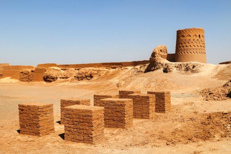 Ruïnes van een vesting in oude Meybod iran perzië royalty-vrije stock foto
