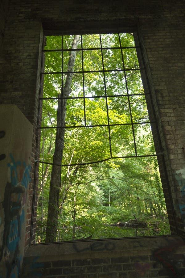 Ruïnes van elektropost op Hockanum-Rivier in Manchester, Connecticut stock afbeeldingen