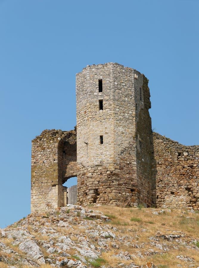 Ruïnes van Enisala - middeleeuwse vesting in Dobrogea, Roemenië royalty-vrije stock afbeeldingen