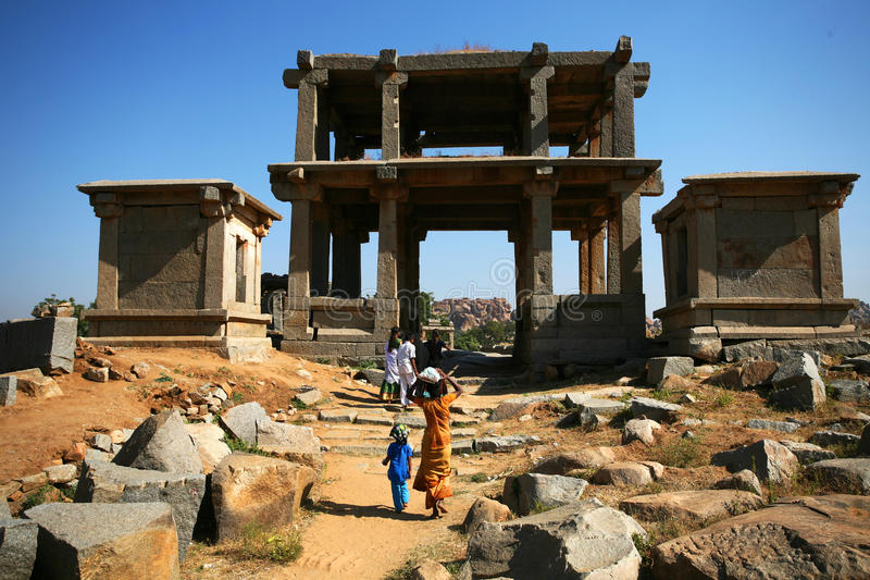 Ruïnes van Hampi, India stock foto's